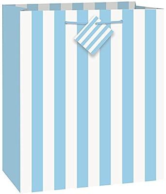 "Light Blue Striped Gift Bag, 13"" x 10.5"""