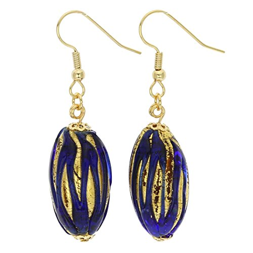 (GlassOfVenice Murano Glass Royal Blue Capsule Earrings)