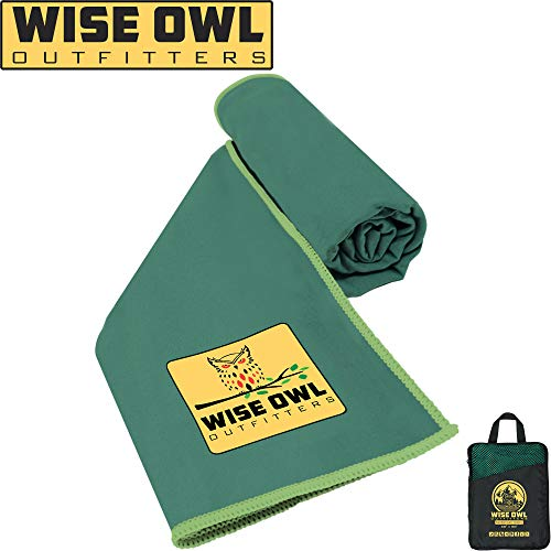 Wise Owl Outfitters Camping Towel - Ultra Soft Compact Quick Dry Microfiber Best Fitness Beach Hiking Yoga Travel Sports Backpacking & The Gym Fast Drying, Free Bonus Washcloth Hand Towel - LG Green