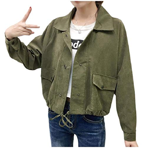 Womens Turn Bomber Cappotto Style Militare Verde Mogogo Button Collar down Baggy p7xpdwqg