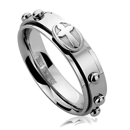 6MM Stainless Steel Mens Womens Rings Casting Cross Rosary Comfort Fit Spinner Praying Wedding Bands SZ: 8