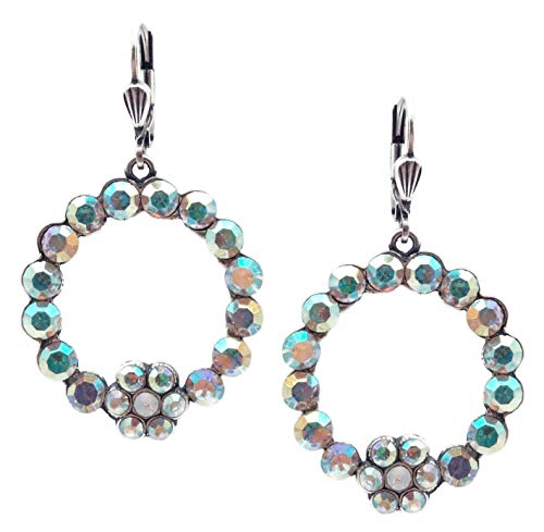 Catherine Popesco Crystal AB & White Opalescent Swarovski Crystal Round Flower Silvertone Dangle Earrings