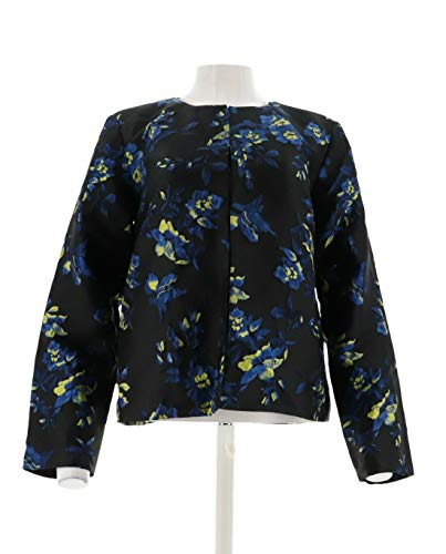 Dennis Basso Floral Jacquard Cropped Jacket Cobalt Combo 6 New A301451