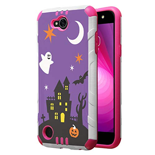 Capsule Case Compatible with LG Fiesta 2 (L163BL), LG X Power 2 (M320), LG X Charge (M322), Fiesta LTE, K10 Power, LS7 4G LTE [Dual Layer Slim Armor Case White Pink] - (Halloween) -