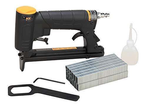 HBT HB7116P-KT 22 Gauge 3/8-Inch Crown Pneumatic Upholstery Stapler, Air Stapler Kit, with 6000 Staples, 1/4-Inch to 5/8-Inch