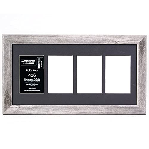 creativeletterart 10x20dw b 4 opening driftwood picture frame holds 4x6 media with black collage mat and glass - Driftwood Picture Frame