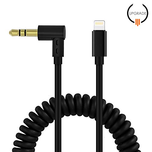 Factoy2C Spring Aux Cord Compatible for iPhone,Spring Extend to 6FT Audio Aux Adapter 3.5mm Aux Cable Compatible for iPhone 7/X/8/8 Plus/XS Max/XR to Car Stereo/Home Speaker/Headphone (Black)]()