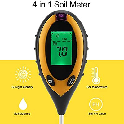 Yinuoday 4-in-1 Soil Tester PH Levels Moisture Meter Temperature Sunlight Lux Intensity for Indoor Outdoor Garden Farm Lawn Plants Grain Flower Grass Care