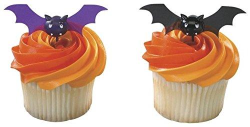 CakeSupplyShop Bats Halloween Spooky Pics -24pk Cupcake / Desert / Food Decoration Topper Picks with Favor Stickers & Sparkle Flakes -