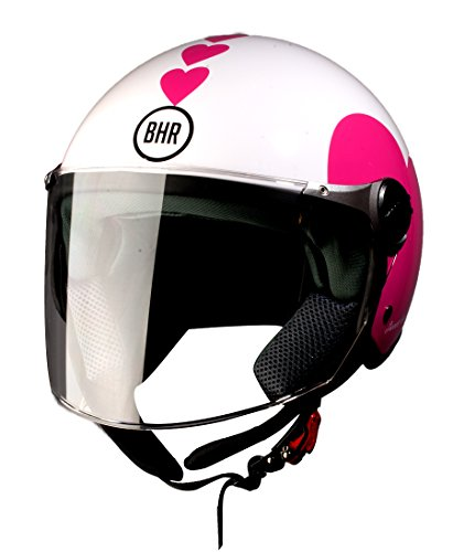 Amazon.es: BHR 93774 Demi-Jet Love 710 Casco de Moto, Color Blanco, Talla 59/60 (L)