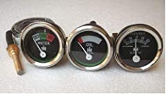 """Replacement Gauge (Set) IH Farmall Fits IH Farmall H, I4, I6, I9, M, Super MTA, O4, OS4, O6, OS6, TD6, W6, W9,WD9, Set Consits the following Gauges 1) Temperature Gauge 72'' Lead, 5/8"""" -18 UF (Brass) with 1/2"""" NPT Pipe Bushing (Included) Chro..."""