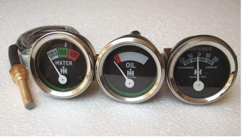 - IH/Farmall Tractor Gauge Set-Oil+Temp+Amp Gauge fits in H, I4,I6,I9, M,O4,OS4,O6,OS6, TD6,W6, W9,WD9