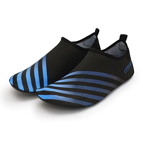 Zapatos De Buceo Amarillo / Azul / Rojo Adulto Zapatos De Playa A Prueba De Golpes Zapatos De Cala Secado Rápido Suela Elástica TPR Parte Superior De Tejido Elástico Zapatos Suaves Para Bucear Zapatos Azul