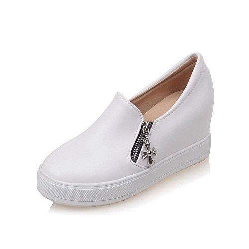 Allhqfashion Womens Pu Tacchi Alti Tondi Scarpe Con Cerniera Tinta Unita Pompe-scarpe Bianche