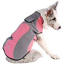 Jim Hugh Dog Clothes Waterproof Fleece Reflective Wear-Resistant Warm Outdoor Winter Coat Jacket Easy Wear Pink