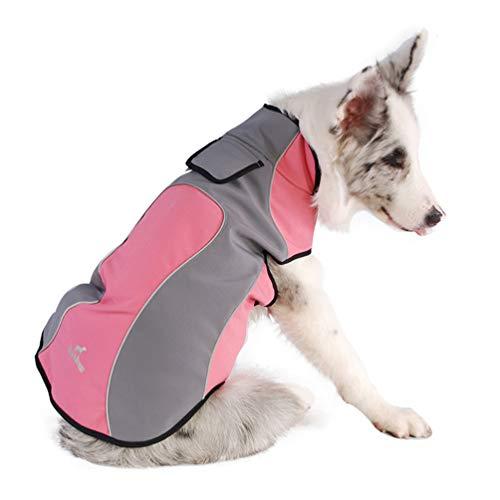 Jim Hugh Dog Clothes Waterproof Fleece Reflective Wear-Resistant Warm Outdoor Winter Coat Jacket Easy Wear Pink -