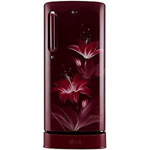 LG 190 L 4 Star Inverter Direct-Cool Single Door Refrigerator (GL-D201ARGY, Ruby Glow, Base Stand with drawer)
