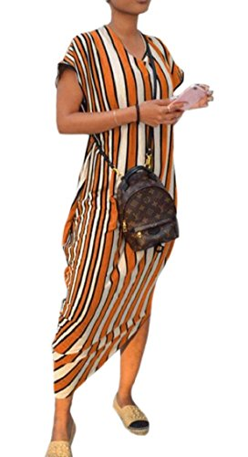 Women's Beach Summer Stripe Short Loose Midi Jaycargogo 3 Dress Casual Sleeve dp6OwxdTq
