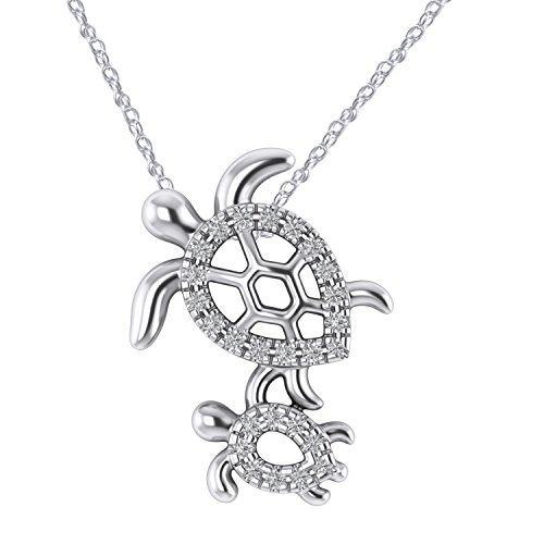 Pretty Jewels 925 Sterling Silver 0.10Ct Round Diamond Sea Turtle Mom & Child Necklace Pendant 18