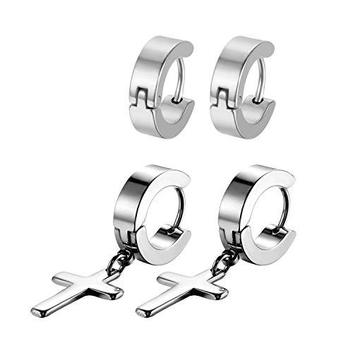 (Flongo Men's Womens Vintage Stainless Steel Cross Dangle Hinged Hoop Earrings, Stainless Steel Hoop Huggie Earrings Cross Drop Dangle Earrings)