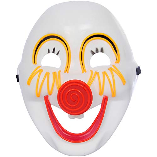 U LOOK UGLY TODAY Mens LED Light Up Mask Full Face for Halloween Party Smile Clown -