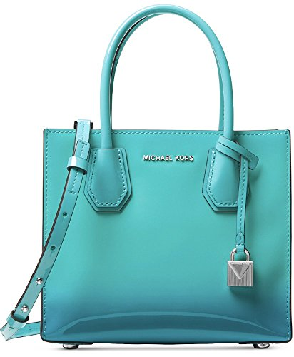 Michael Kors Mercer Ombre Patent Leather Medium Messenger Crossbody, Tile Blue