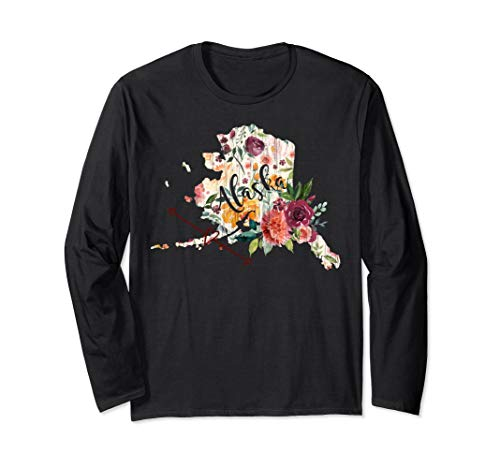 Alaska Floral Flowers Heart Arrow Long Sleeve T-Shirt ()