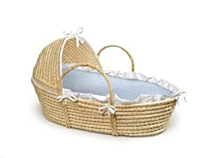 Badger Basket Natural Baby Moses Basket with Hood Bedding, Blue Gingham
