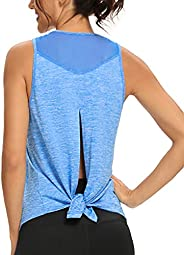 Quccefods Workout Tops for Women Open Back Yoga Shirts Mesh Backless Muscle Sports Running Tank Tops Gym Worko