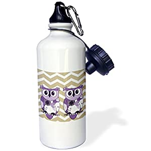 """3dRose wb_162266_1 """"Two Purple Owls with beige and white chevron"""" Sports Water Bottle, 21 oz, White"""