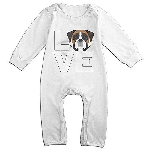 Baby Boxer Dog (Cute Love Boxer Dog Toddler Unisex Newborn Baby Boy Girl Long Sleeve Romper Jumpsuit Pajamas Outfit)