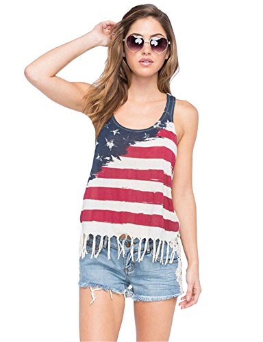 Women USA Flag Printing Stitching T-shirt Vest Sleeveless Top My Wonderful World Small (Charlie Sheen Bowling Shirts Sale)