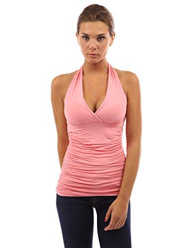 PattyBoutik Mujer lados cabestro acanalada superiores rosa del coral