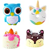 Eccoo House 4 Packs Unicorn Squishies Toys,Unicorn Donut,Blue Owl,Cream Cake,Deer Cake Slow Rise Squeeze Soft Toy for Stress Relief Gift Decorative Props Large