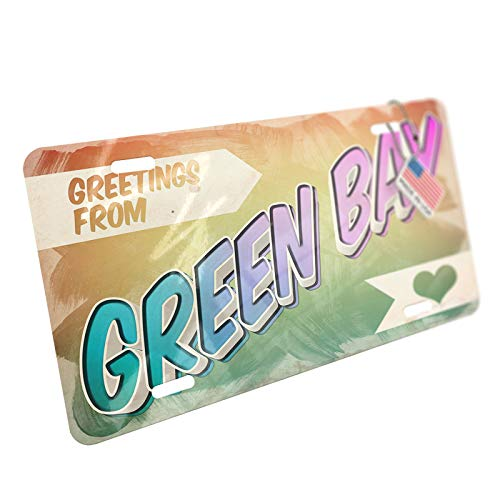 NEONBLOND Greetings from Green Bay, Vintage Postcard Aluminum License Plate