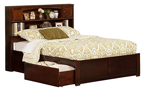 Newport Bookcase Bed with Flat Panel Foot Board and 2 Urban Bed Drawers, Full, Antique Walnut