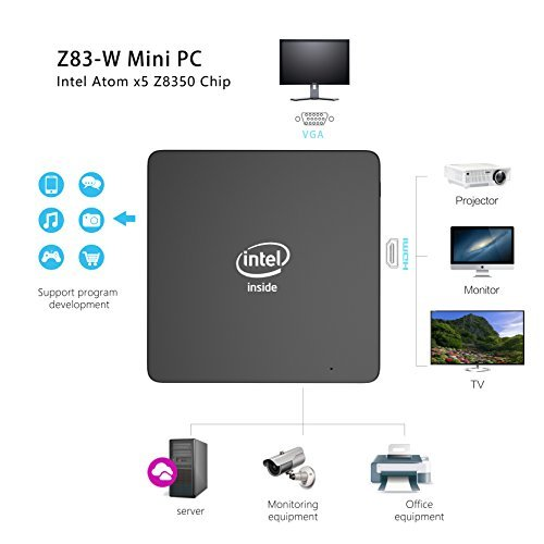 Z83-W Mini PC, Intel Atom x5-Z8350 Processor (2M Cache, up to 1.92 GHz) 4K/2GB/32GB 1000Mbps LAN 2.4/5.8G Dual Band WiFi BT 4.0 with HDMI and VGA Ports, Fanless Computer by COOFUN (Image #4)