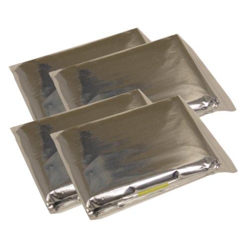 Pack of 4 Emergency Sleeping Bags, Thermal Reflective Survival Bags, MCR -