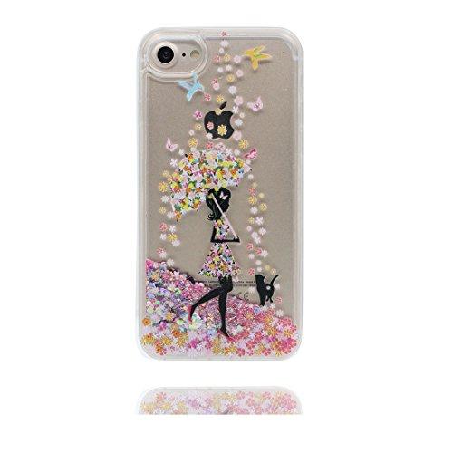"""iPhone 6 Plus Coque, iPhone 6s Plus étui Cover 5.5"""", Bling Bling Glitter (Fille noire) Umbrella Fluide Liquide Sparkles Sables, iPhone 6 Plus Case 5.5"""", Shell anti- chocs & Bouchon anti-poussière"""