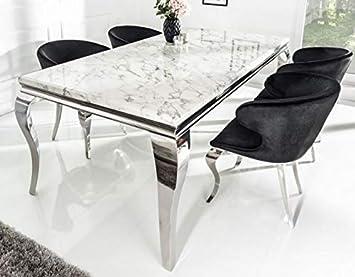 Casa Padrino Designer Esszimmer Set Schwarz/Silber / Weiss ...