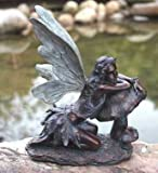 Napco Imports 17090 Bronze Green Fairy on Mushroom resin