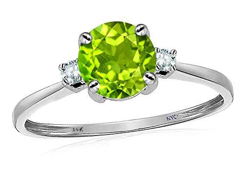 Star K 7mm Round Genuine Peridot Classic 3 stone Engagement Ring 14 kt White Gold Size 6 ()