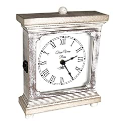 Rustic Wood Clock for Shelf Table Or Desk 9x7 - Farmhouse Decor Distressed White Washed Mechanical Powered for Office, Bedroom Fireplace Mantel Living Family Room. AA Battery Operated Non-Digital