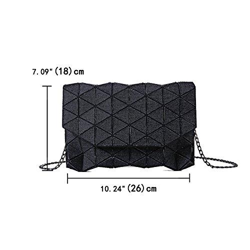 Denim Clutch Black Geometric Bag Shard Handbag Lattice Canvas Shoulder Bag Oww4rq0x1z