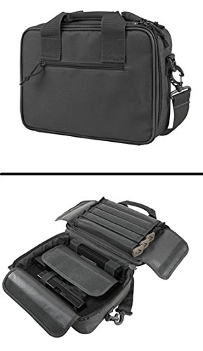 Urban Grey Springfield Armory XD XDS XDM 9mm .22 .357 Sig 38 Special .40 S&W .45 ACP GAP Dual Tactical Handgun Case Holds 2 Pistols with 10 Single Double Stack Magazine Pockets and Carry Handle