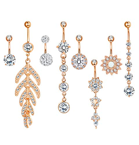 Milacolato 8pcs Stainless Steel Belly Button Rings for Womens Girls Navel Rings Barbell Dangle Acrylic CZ Flower Body Piercing Jewelry Rose-Gold ()