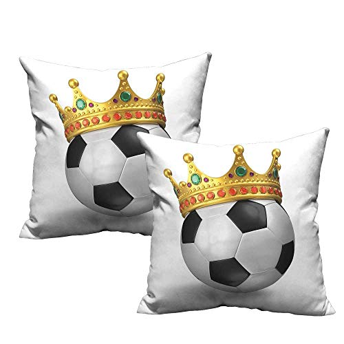 (King Square lumbar cushion cover Football Soccer Championship Inspired Ball Crown with Ornaments Image Print Super Soft and Luxury, Hidden Zipper Design 14