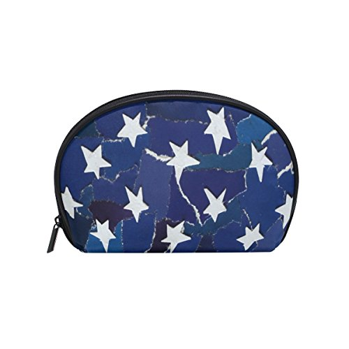 ALAZA Retro American Flag Star Half Moon Cosmetic Makeup Toi