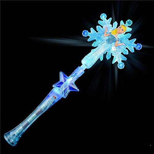 GIFTEXPRESS LIGHT-UP SNOWFLAKE PRINCESS WAND/ LED Snowflake Magic Wand/Frozen Snowflake Wand/ Frozen Magic Wand/Frozen Elsa Costume (Light Up Princess Wand)