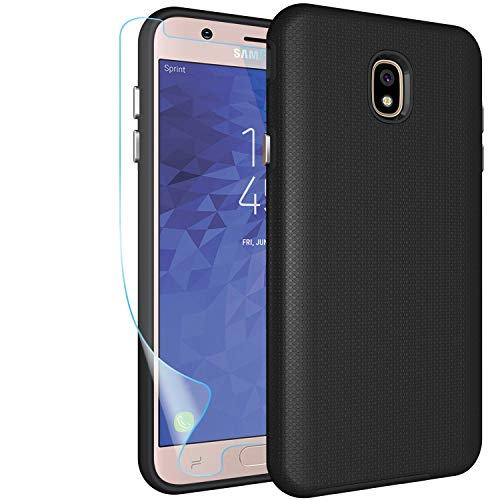 Samsung Galaxy J7 2018 Case,J7 Refine,J7 Star,J7 Aero,J7 Top,J7 Aura,J7 Eon Case with Screen Protector,NiuBox Slim Fit Hybrid Armor Shock Absorption Protective Phone Cover Case for J7V 2018 Black - Shock Big Body